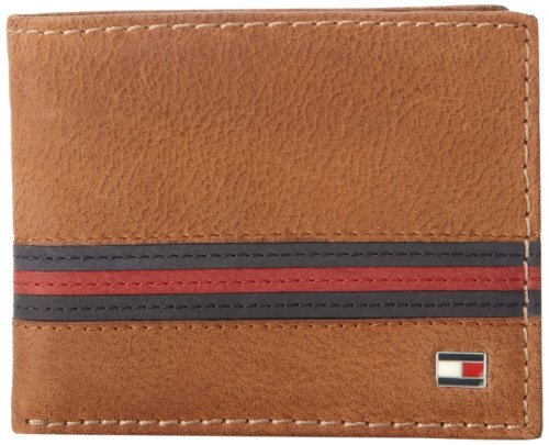 Tommy Hilfiger Men's Leather Passcase Wallet with Removable Card Holder,Yale Tan
