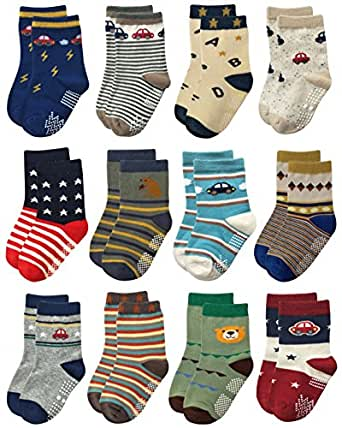 Deluxe RB-71518 Non Skid Anti Slip Slipper Cotton Crew Socks With Grips For Baby Toddlers Kids Boys (18-36 Months, 12 designs/RB-71215)