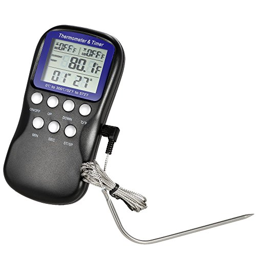 Price comparison product image Hense Digital Precision Meat Thermometer for Cooking BBQ Grill, Oven Wireless Countdown Stainless Steel Probes HT34