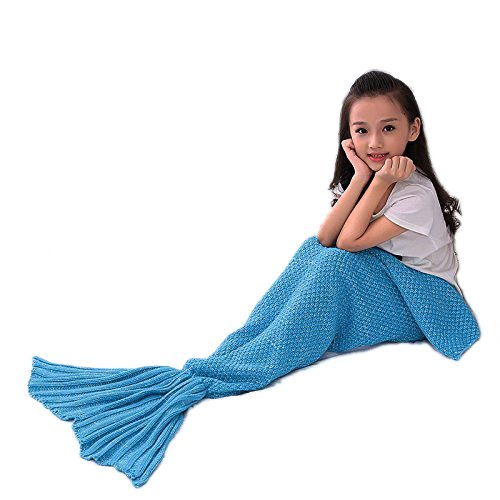 Girls Dressing Up (Mermaid Tail Blanket Girls Dressing Up Toys Handmade Knitted Living Room Sofa Throws Perfect Birthday gifts for any Girls 55.18 inch x 27.56 inch (Origin-Kid-Sky blue))