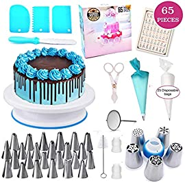 Shpebs Cake Decorating Supplies | Cake Decorating Kit Baking Supplies Set For Beginners | Rotating Cake Turntable Stand… 7 🍪 EXQUISITE BAKING & PASTRY MASTERPIECES! You don't need a white chef's jacket to create divine, decadent, and undeniably delectable cakes, cupcakes, cookies, and other delicious desserts & baked goods. Go all-out with this ultimate kitchen set! Perfect as a Gift for all ages 🍰 ALL-IN-ONE BAKING KIT - Set Includes: | Nonslip Rotating Turntable Stand | 24 Piping Tips | Spring pen | Cleaning Brush | Piping Bags | 2x Tip Coupler | Flower Lifter | 1x Flower Nails | 2x Spatula | 3x Cake Scrapers | 1x Silicone Piping Bags | 100x Disposable Pastry Bags | 60 Disposable Cupcake liners Icing Design Chart. 🍪 FUN FOR ALL AGES AND SKILL LEVELS - This all in one kit is great for beginners or experienced cake designers. You supply the ingredients and we supply all the tools you will need to inspire your creativity. If you enjoy baking decorating, the possibilities are endless with this complete set! All tools & accessories are 100% dishwasher safe.