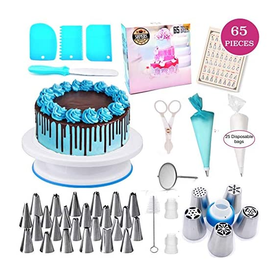 Cake Decorating Supplies For Beginners | Cake Decorating Kit Baking Supplies Set | Rotating Cake Turntable Stand | Icing Piping Tips & Bags | Smoother & Spatulas, Frosting & Pastry Tools. 1 🍪 EXQUISITE BAKING & PASTRY MASTERPIECES! You don't need a white chef's jacket to create divine, decadent, and undeniably delectable cakes, cupcakes, cookies, and other delicious desserts & baked goods. Go all-out with this ultimate kitchen set! Perfect as a Gift for all ages 🍰 ALL-IN-ONE BAKING KIT - Set Includes: | Nonslip Rotating Turntable Stand | 24 Piping Tips | 5 Russian tips | Cleaning Brush | Piping Bags | 2x Tip Coupler | Flower Lifter | 1x Flower Nails | 1x Spatula | 3x Cake Scrapers | 1x Silicone Piping Bags | 25x Disposable Pastry Bags | Icing Design Chart. 🍪 FUN FOR ALL AGES AND SKILL LEVELS - This all in one kit is great for beginners or experienced cake designers. You supply the ingredients and we supply all the tools you will need to inspire your creativity. If you enjoy baking decorating, the possibilities are endless with this complete set! All tools & accessories are 100% dishwasher safe.