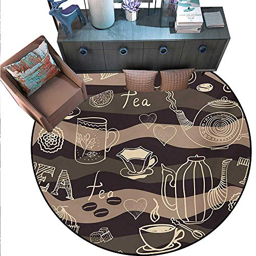 - Tea Party Home Decor Circle Area Rug Stylized Tea Lettering Hot Pots Coffee Beans Doodle Hearts on Wavy Lines Round Area Rug Carpet (63