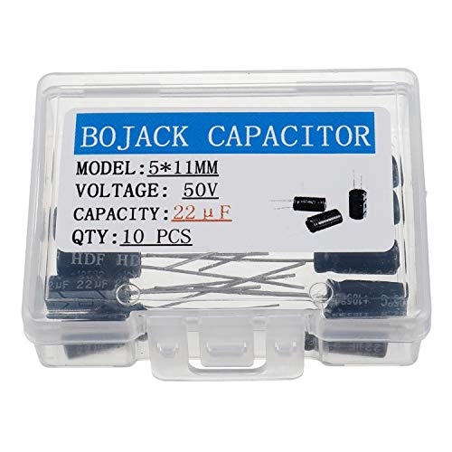 BOJACK 5X11mm 22uF 50V 22MFD 50Voltage ±20% Aluminum Electrolytic Capacitors(Pack of 10 Pcs)