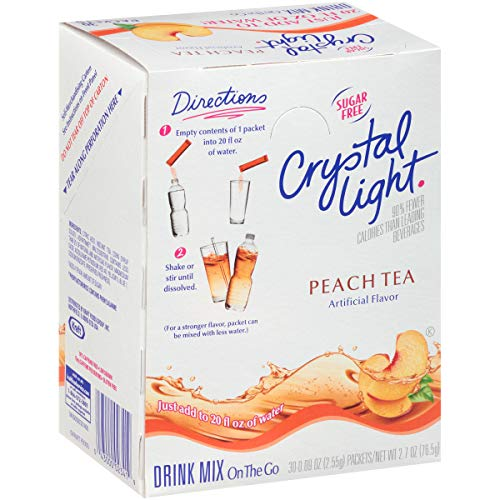 Crystal Light Peach Tea Drink Mix (120 On the Go Packets, 4 Boxes of 30)