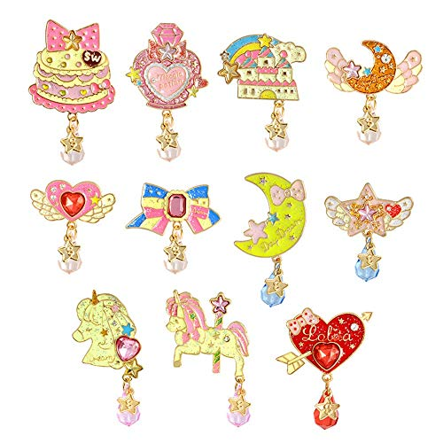PunkStyle Novelty Plant Animal Enamel Brooches Badge for Women Girls Children for Clothing Bag (Love Diamond Brooch -11pcs) by PunkStyle