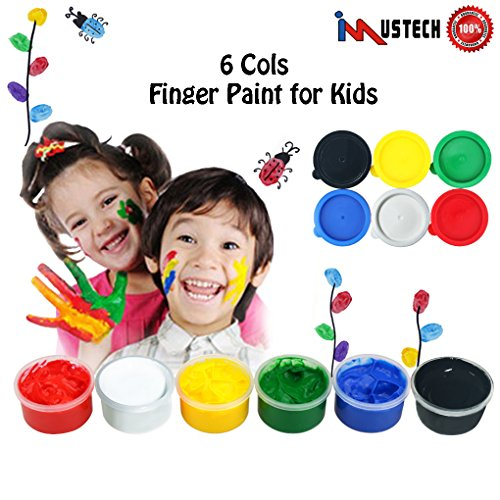 (iMustech Washable Finger Paints, Non Toxic Fingerpaint for Kids and Toddlers, Art Supplies (6 Colors X 1.02 fl.oz))