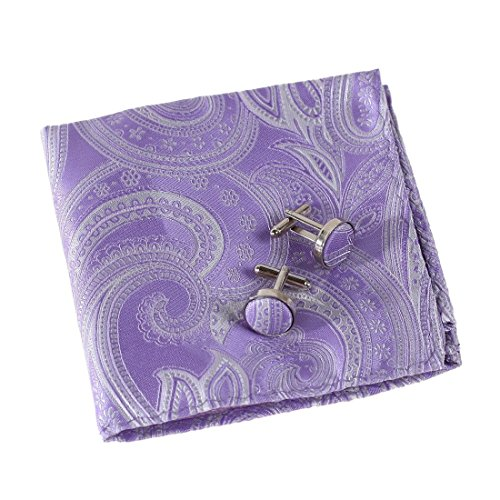 Square Italian Cufflinks - EEF1B01A Purple Italian Poly Pocket Square Woven Microfiber Patterned Handkerchief Cufflinks Set Designer for Mens By Epoint