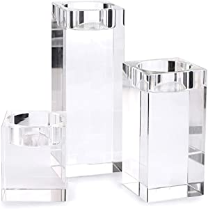 OwnMy Crystal Candle Holders Set of 3, Crystal Tea Light Candle Holders Crystal Candlestick Holders, Candlestick Centerpieces Set for Home Decoration for Wedding (6x5cm-10x5cm-14x5cm)