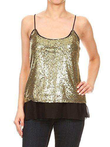 - Anna-Kaci Womens Sequin Spaghetti Strap Sheer Ruffle Crop Camisole Tank Top, Gold, Medium