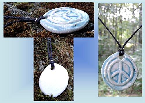 Pale Turquoise Peace Sign Porcelain Pendant Necklace Surfer Boho Beach Amulet on Hemp (Peace Pale Sign)