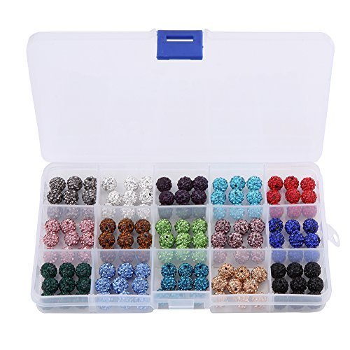 HYBEADS 15 Color X 9 Piece Mix Lot Top Quality Crystal Rhinestones Pave Clay Spacer Ball Beads (10mm Box Set)