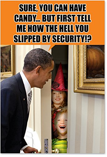 1244 'Obama Trick or Treat' - Funny Halloween Greeting Card with 5