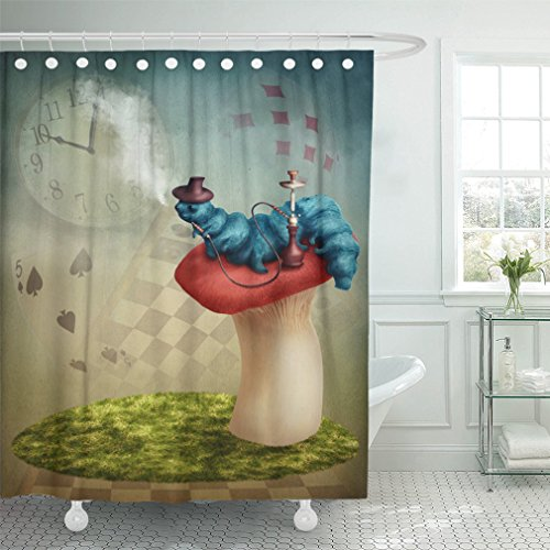 """Emvency 72""""x72"""" Shower Curtain Waterproof Home Decor Blue Wonderland The Hookah Smoking Caterpillar From Brown Alice Fairy Fantasy Tale Picture Print Polyester Fabric Adjustable Hook"""