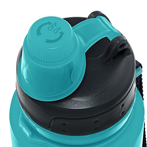 Nomader BPA Free Collapsible Sports Water Bottle - Foldable with Reusable Leak Proof Twist Cap for Gym Travel Hiking Camping and Outdoors - 22 Ounce (Aqua)