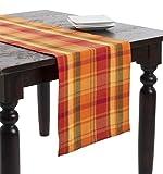 Fennco Styles Harvest Plaid Design Cotton Terracotta Table Runner (16''x108'')