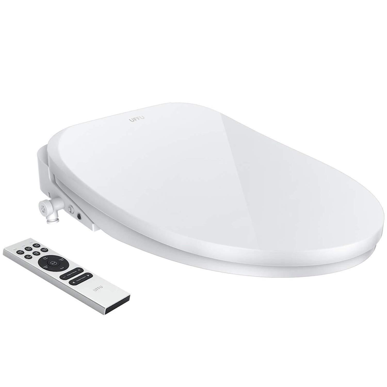 Smart Toilet Seat, UFFU Advanced Bidet Toilet Seat, Wireless Remote Control, Advanced H/C Massage, Precise Seat Warming, Self-Cleaning with Air Dryer, Inviting Nightlight Design, Elongated White