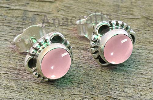 Pink Rose Quartz Post Stud Earrings - 925 Sterling Silver Rose Quartz Stone Gemstone Stud Earrings For Girls Women Jewellery