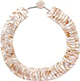 Bib Chunky Strand Statement Necklace Natural Shell Jewelry for Women,18''