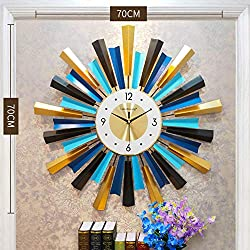 XIAOMEI European Style Oversized Wall Clock Retro Metal Wall Clock Battery Operated Hotle Living Room Wall Decoration(Gold Starburst)-b 70x70cm(28x28inch)