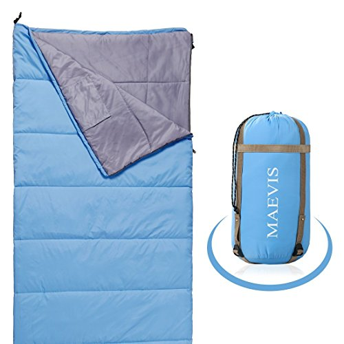 Maevis all Season 330GSM Sleeping Bag Envelope Mummy Lightweight Portable Waterproof with Compresshion Bag - Fit for Camping Hiking Traveling & Outdoor (Sky Blue, - Zip 1 Rei 4