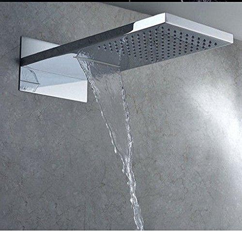 GOWE Luxury Fancy Waterfall Rain Shower Faucet Sets Double Functions with the Hand Shower Chrome Finished
