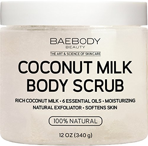 Baebody Coconut Milk Body Scrub: With Dead Sea Salt, Almond Oil, and Vitamin E. Natural Exfoliator, Moisturizer Promoting Radiant Skin 12(oz)