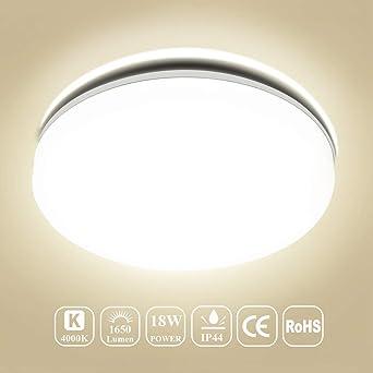 Deckenleuchte Bad LED, Deckenlampe Bad, Öuesen 18W Neutralweiss LED ...