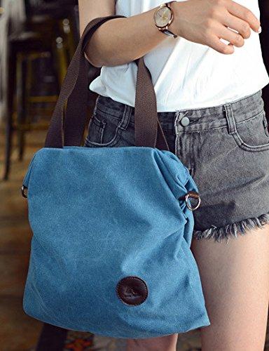 Shoppers Baratos Azul Bandolera y para de Mujer Hombro Lona de Blanco Bolsos Grande ESAILQ Niña Rq414p