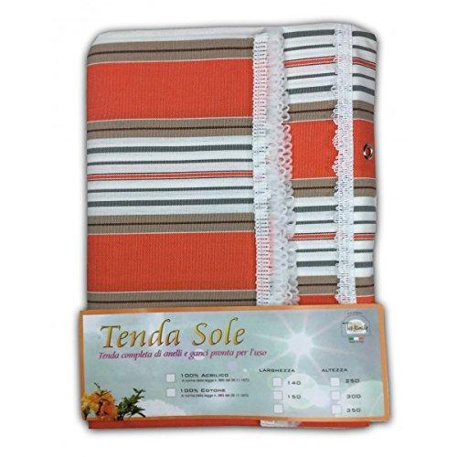 TENDA SOLE DA ESTERNO GIARDINO BALCONE RIGHINO ARANCIO CONFEZIONATA - Cm. 140x250 Tex family