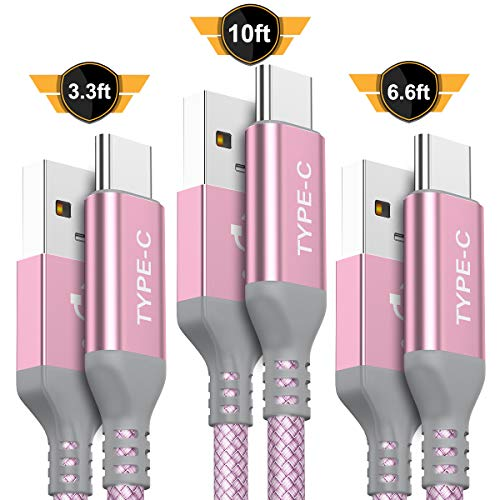 - USB Type C Cable,AkoaDa 3-Pack (10ft+6.6ft+3.3ft) USB A to USB-C Fast Charger Nylon Braided Cord Compatible Samsung Galaxy Fold S8 S9 S10 Plus Note 9 8,Google Pixel 2 3 XL,LG V30,Moto Z3 Force(Pink)