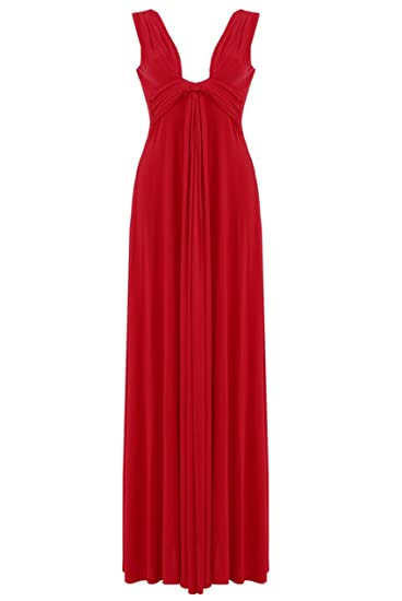 Blossoms Long Red Knot Panel Grecian Summer Maxi Evening Dress Size 8-16 Prom Cruise