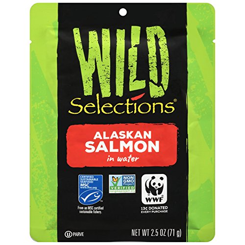 WILD SELECTIONS Alaskan Wild Salmon, 2.5 Ounce Pouches (Pack of 12), Bulk Salmon, Keto Food, High Protein Snacks, Gluten Free Foods Grocery, Keto Food