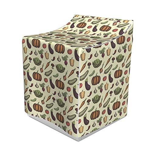 (Ambesonne Vegetable Art Washer Cover, Hand Drawn Vegan Pattern Mushroom Radish and Pumpkin on Cream Background, Dust and Dirt Free Decorative Print, 29