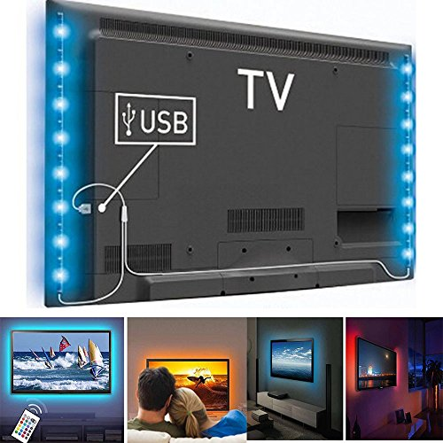 LED Home Theater TV BackLight Accent RGB Multi-Color-Changing Strips Light Power for 32-Inch to 65-Inch Flat Screen TV