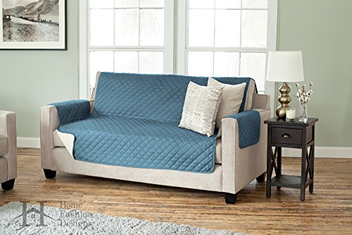 Deluxe Reversible Quilted Furniture Protector. Two Fresh Looks in One. By Home Fashion Designs Brand. (Sofa, Smoke Blue / Flax) (Pet Couch Covers For Furniture)