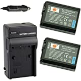 DSTE® 2x NP-FW50 Battery + DC107 Travel and Car Charger Adapter for Sony Alpha 7 7R 7R II 7S a7R a7S a7R II a5000 a5100 a6000 a6300 NEX-7 SLT-A37 DSC-RX10 DSC-RX10 II III 7SM2 ILCE-7R 7S QX1 5100 6000 Digital Camera