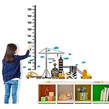 BIBITIME Car Building Construction Site Height Chart Wall Stickers Nursery Bedroom Kids Room Decor Decal Wallpaper PVC Mural
