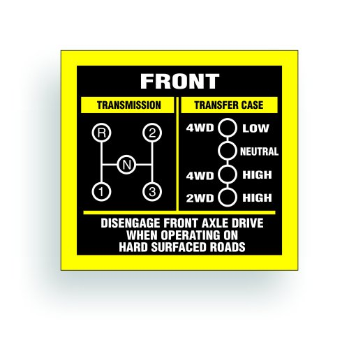 Transmission Shift Pattern Decal - Jeep, Willys Or CJ May Fit Transmission And Transfer Case Models FC150, 3 Speed, Single Stick - 3x2.75 inch