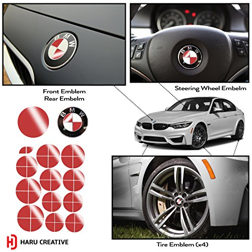 Haru Creative - BMW Emblem Caps Overlay Vinyl Decal Sticker for Hood Trunk Wheel Fender - Gloss Red