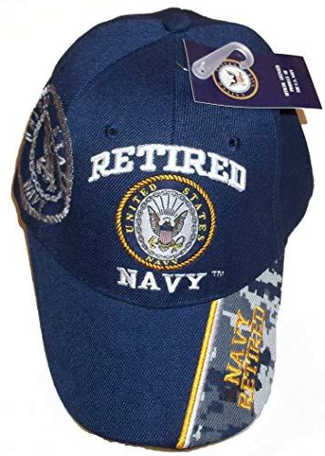 (USA Retired Navy Baseball Style Embroidered Hat Blue Ball Cap Vet Us Veteran)