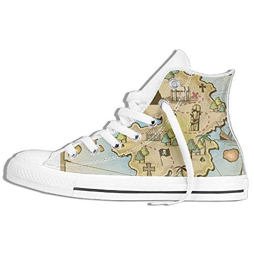 Yuyu Pirat Treasure Island Kart Lerret Høy Topp Sneaker