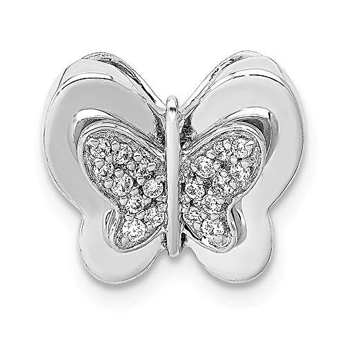 (14k White Gold Diamond Butterfly Chain Slide, 14 kt White Gold)