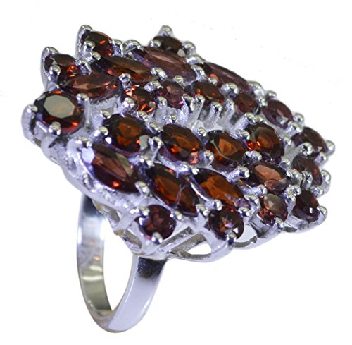 - Genuine Red Garnet Ring Silver Cluster Setting Round Gemstone Jewelry Avaliable Size 5,6,7,8,9,10,11,12