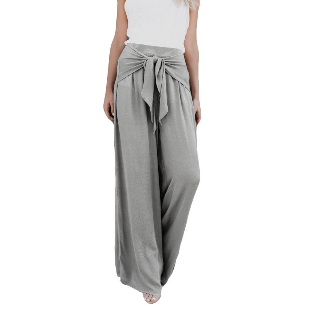 Women's Casual Loose High Waist Wide Leg Bell Bottom Palazzo Flare Pants Leggings (Gray, L)