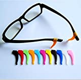 OHSEE 12 Pairs Eyeglasses Temple Tips Ear Grips Hook Anti-slip Holder Silicone Reading Sport Accessories for Kids & Adults (Random Color)