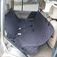 Silk Way Dog Seat Cover for Cars with 2 Bonus Dog Seat Belts - Reinforced Straps and Seams - 100% Waterproof, 54x58 Inches (Black)