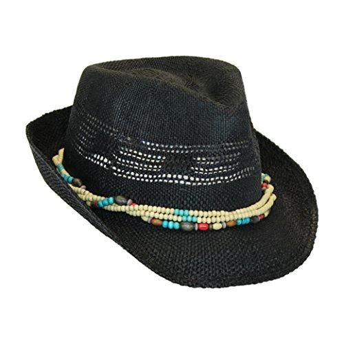 Black Bohemian Summer Straw Fedora Sun Hat w/ Wood Bead Trim