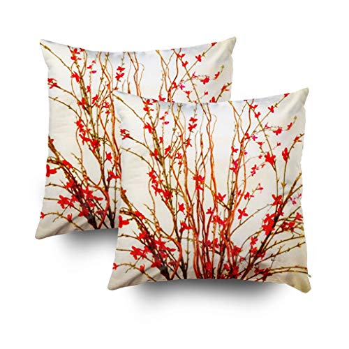 Musesh Christmas Pack of 2 Flowers Light tan Cushions Case Throw Pillow Cover for Sofa Home Decorative Pillowslip Gift Ideas Household Pillowcase Zippered Pillow Covers 16x16Inch (Christmas Brown Lights Jeremy)