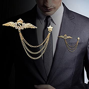 d916eea40814 Image Unavailable. Image not available for. Color: Korean men's suits Wings  brooch pin vintage fringed collar ...